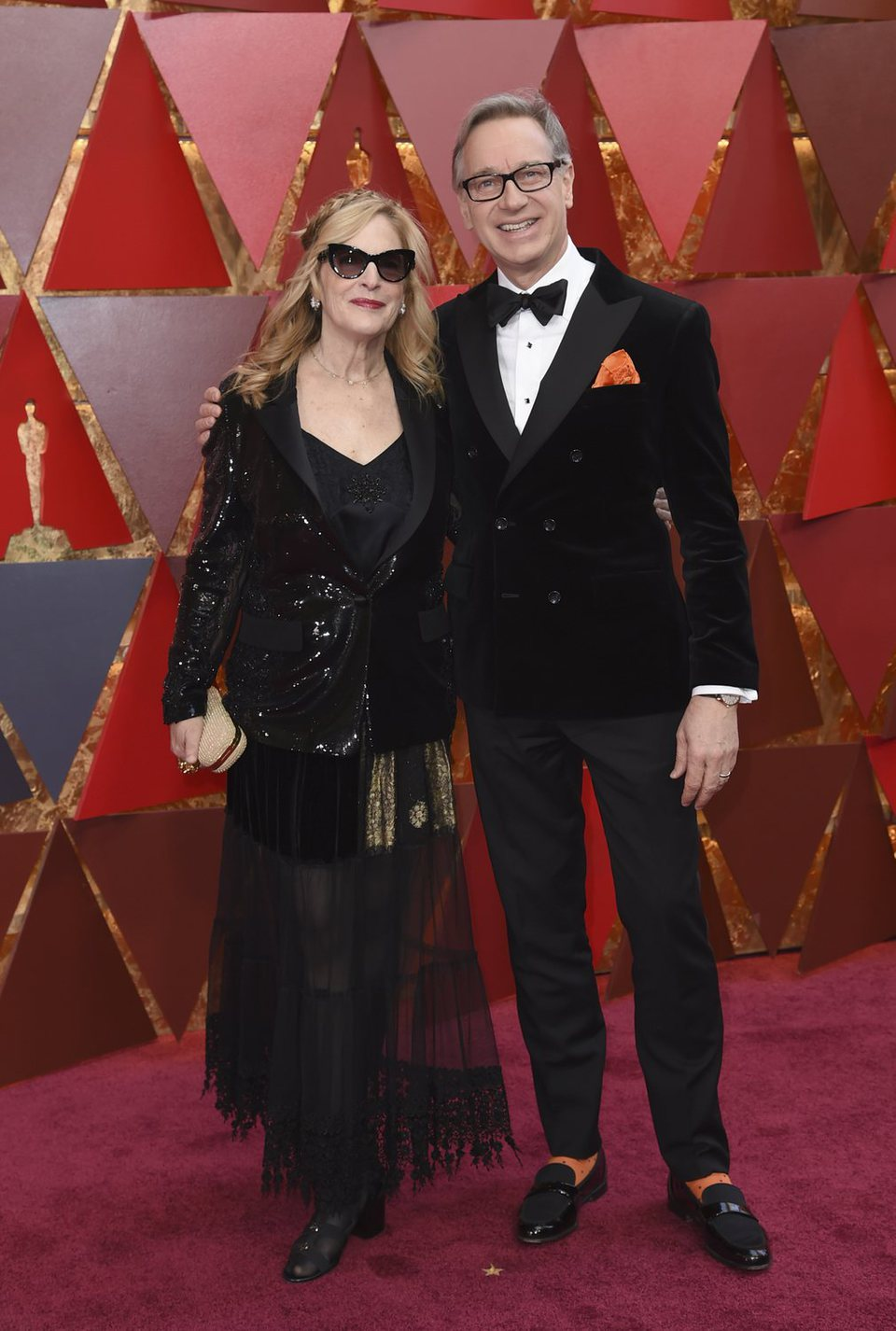 Paul Feig and his wife at the red carpet of the Oscars 2018