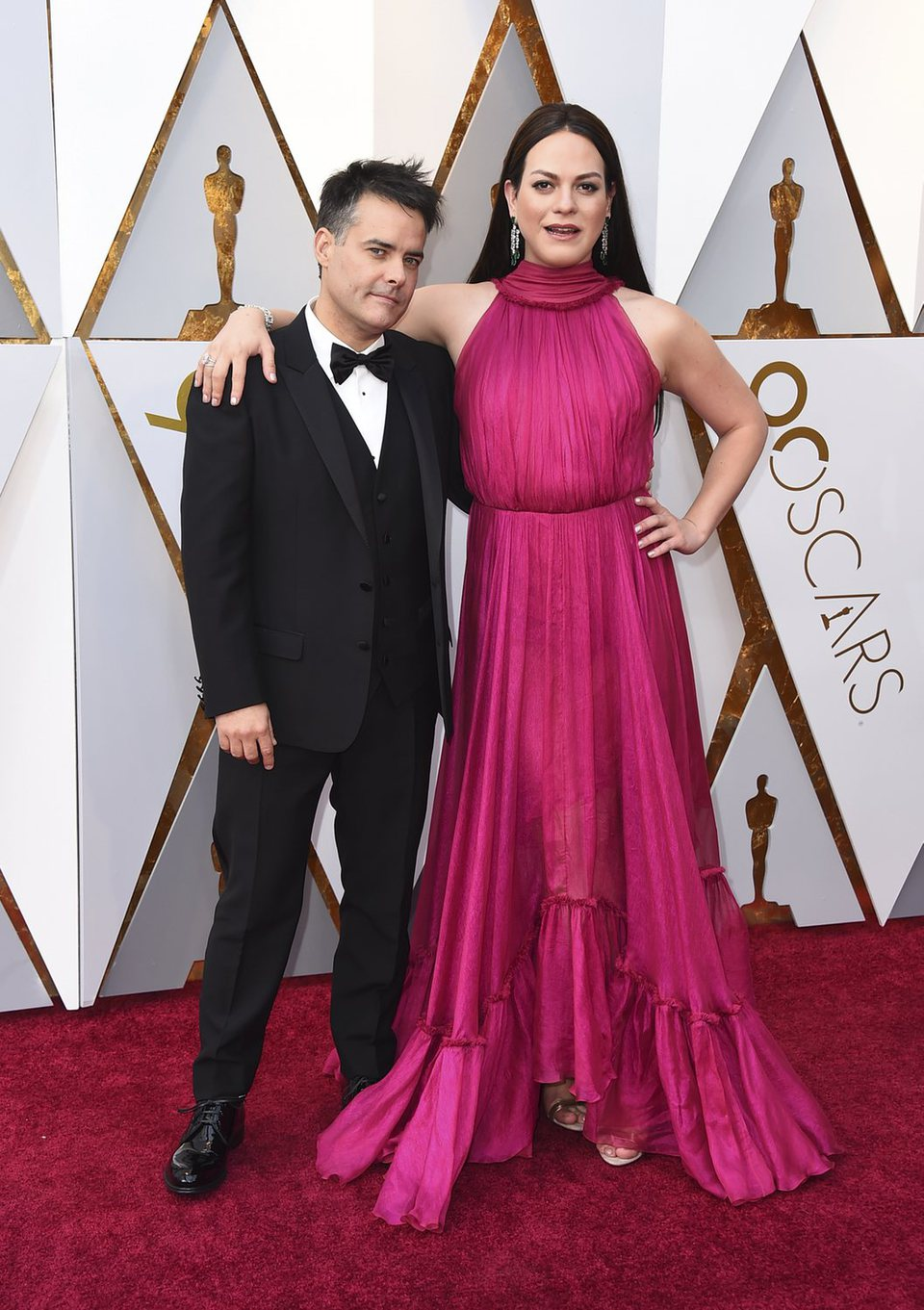 Sebastián Lelio and Daniela Vega at the red carpet of the Oscars