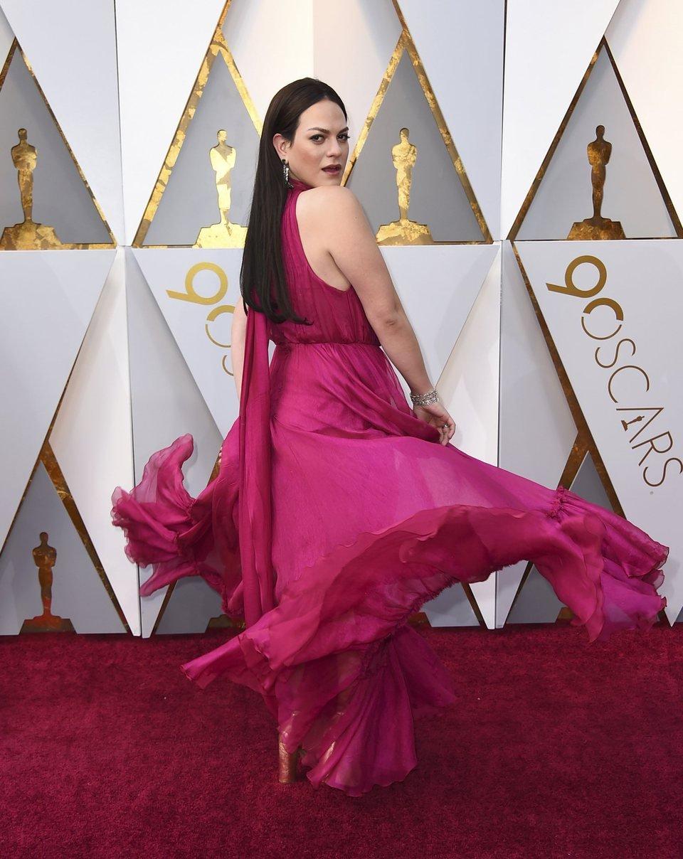Daniela Vega at the Oscars 2018 red carpet