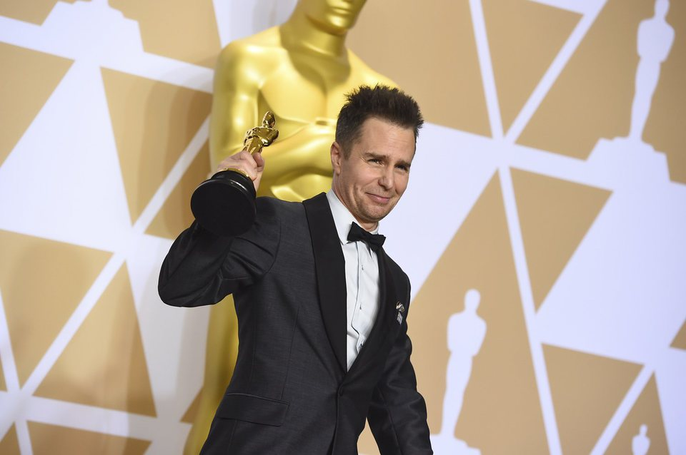 Sam Rockwell poses with Best Actor In A Supporting Role