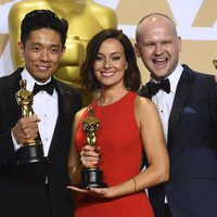 Kazuhiro Tsuji, Lucy Sibbick and David Malinowski, Oscars winners for Best Makeup And Hairstyling for 'Darkest Hour'