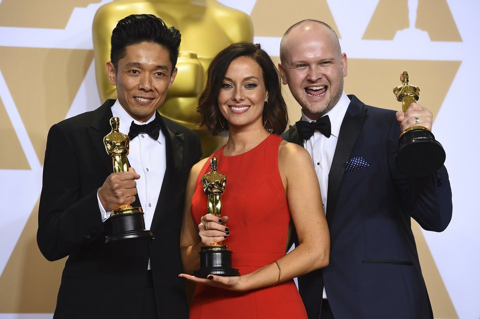 Kazuhiro Tsuji, Lucy Sibbick and David Malinowski, Oscars winners for Best Makeup And Hairstyling for 'Darkest Hour'