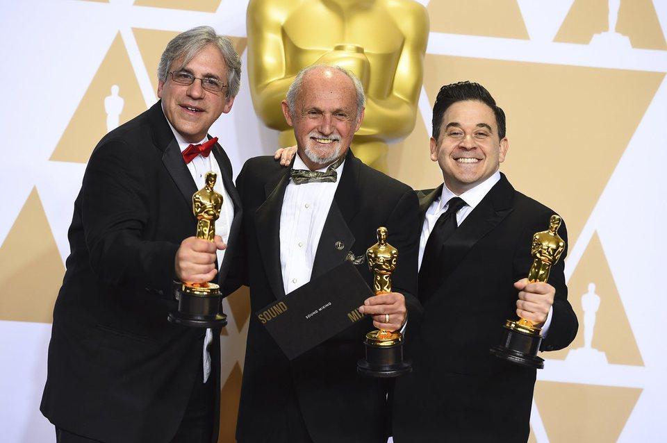 Mark Weingarten, Gregg Landaker and Gary A. Rizzo, Oscar winners for best sound mixing for 'Dunkirk'