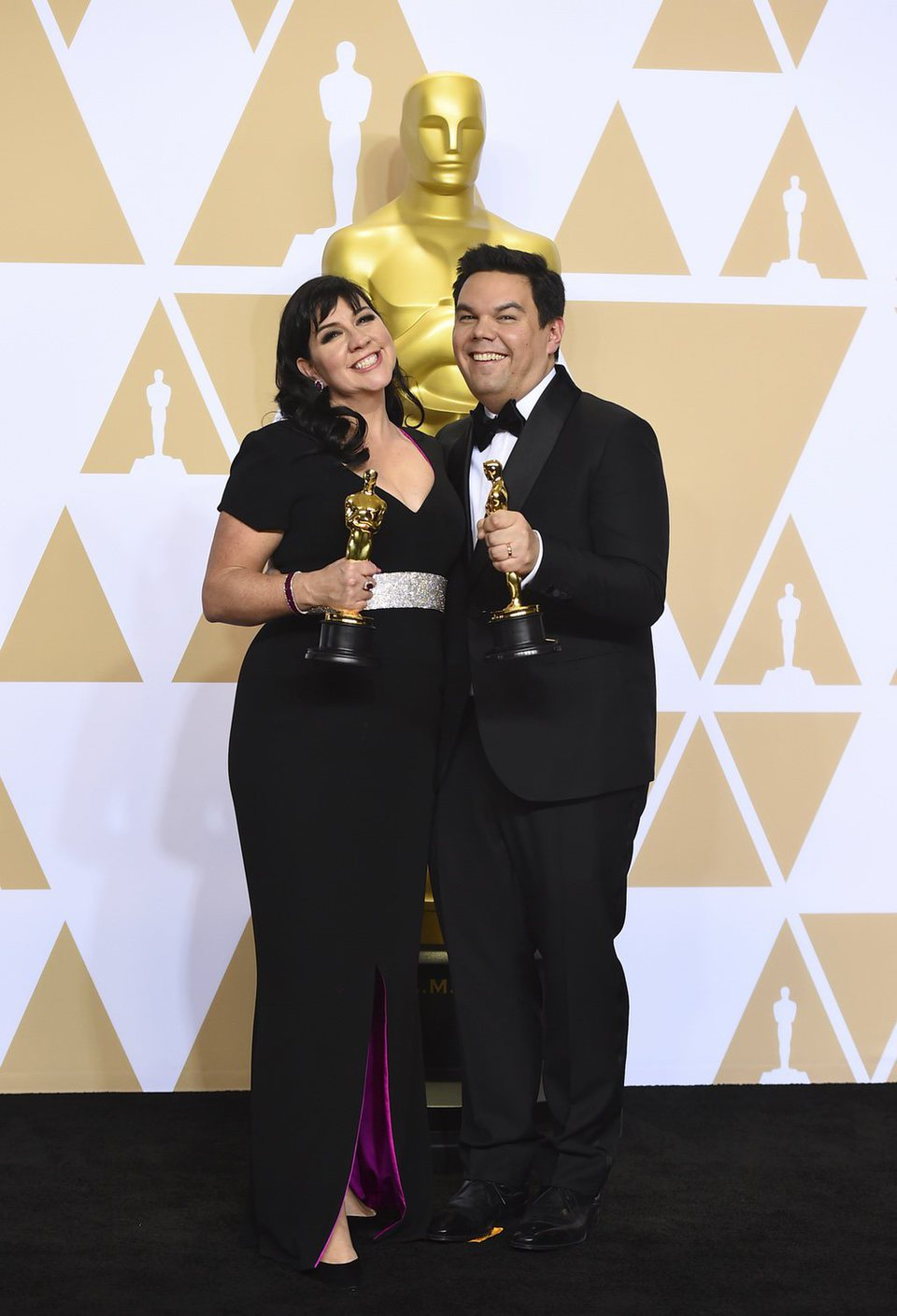 "Kristen Anderson-Lopez and Robert Lopez, winners of the Oscar for Best Original Song for ""Remember Me"" from 'Coco'"
