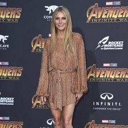 Gwyneth Paltrow poses on the purple carpet at the 'Avengers: Infinity War' premiere