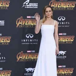 Brie Larson poses on the purple carpet at the world premiere of 'Avengers: Infinity War'