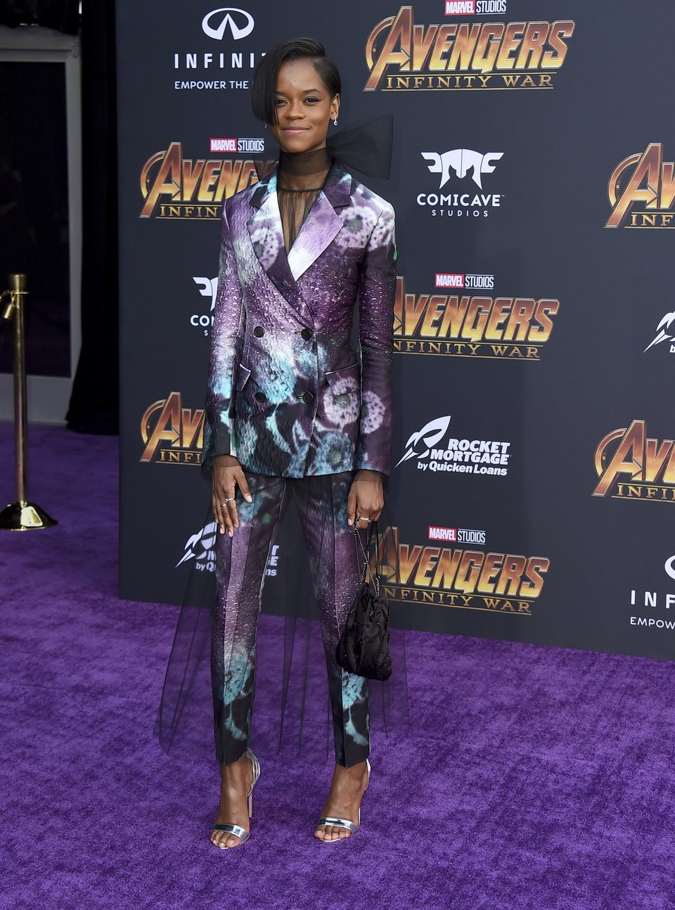 Letitia Wright on the purple carpet at the world premiere of 'Avengers: Infinity War'