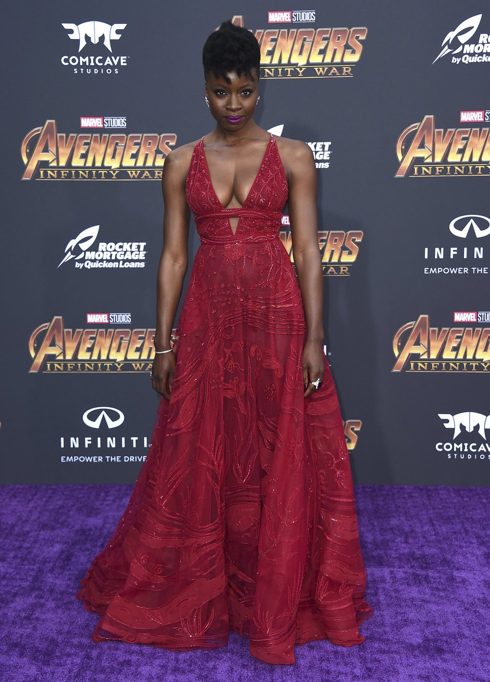 Danai Gurira poses at the world premiere of 'Avengers: Infinity War'