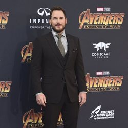 Chris Pratt poses on the purple carpet at the world premiere of 'Avengers: Infinity War'