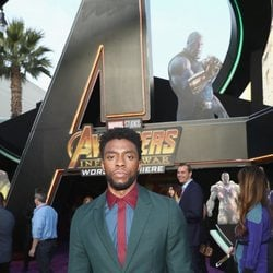 Chadwick Boseman poses on the purple carpet at the world premiere of 'Avengers: Infinity War'