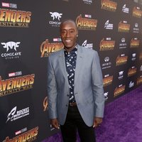 Don Cheadle poses on the purple carpet at the world premiere of 'Avengers: Infinity War'