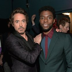 Robert Downey Jr. & Chadwick Boseman pose on the purple carpet at the world premiere of 'Avengers: Infinity War'