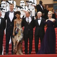 The cast of 'Solo: A Star Wars Story' attends the premiere of the film at the 71st Cannes Film Festival