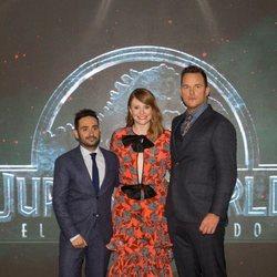 J.A. Bayona, Bryce Dallas-Howard and Chris Pratt at the 'Jurassic World: Fallen Kingdom' at Madrid
