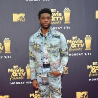 Chadwick Boseman at the MTV Movie & TV Awards 2018 red carpet