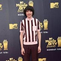 Finn Wolfhard at the MTV Movie & TV Awards 2018 red carpet