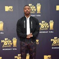 Michael B. Jordan at the MTV Movie & TV Awards 2018 red carpet