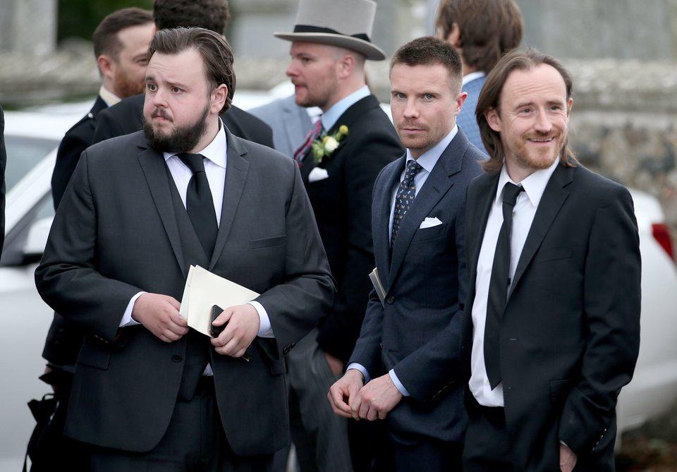 John Bradley, Joe Dempsie and Ben Crompton at the wedding of Kit Harington and Rose Leslie