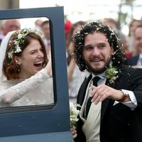 Kit Harington and Rose Leslie leave the ceremony