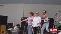 Rami Malek plays to Freddie Mercury in Live Aid