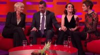 Adam Sandler touches the knee to Claire Foy in The Graham Norton Show